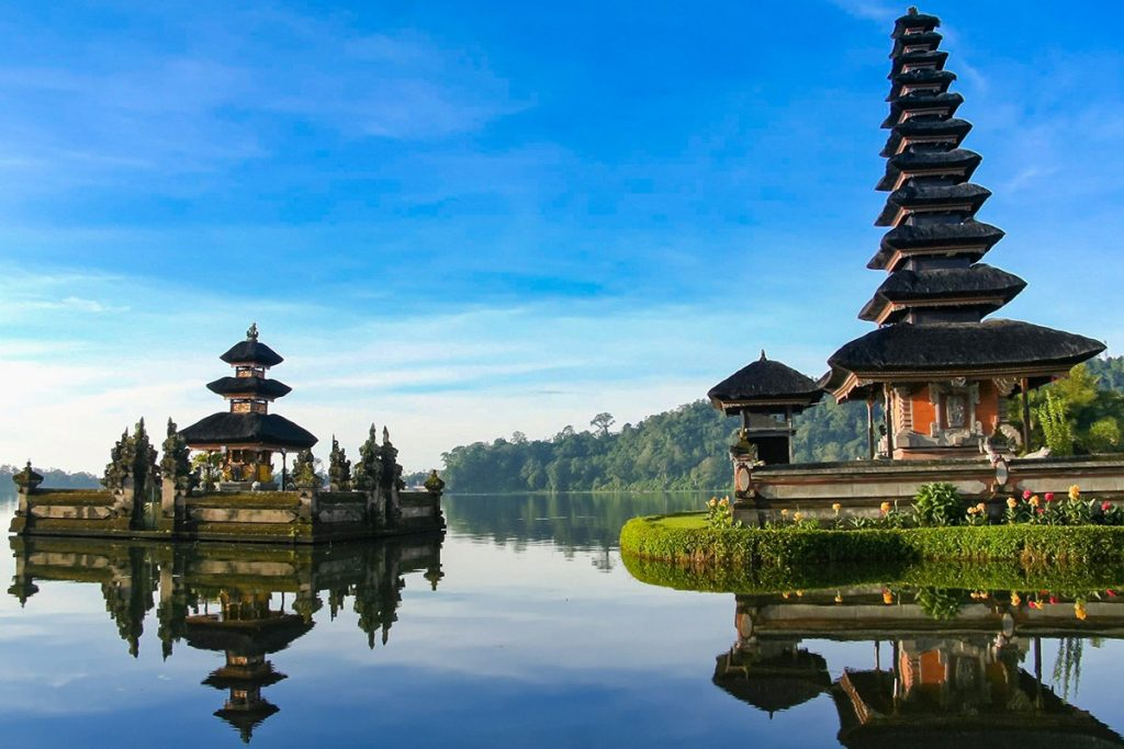 The Ulun Danu Temple in the highlands of Bai which appears like it was floating on the lake
