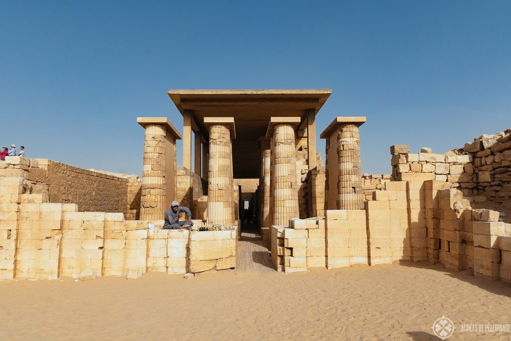 View of the grand collonade of the saqqara burial complex near Cairo, Egypt