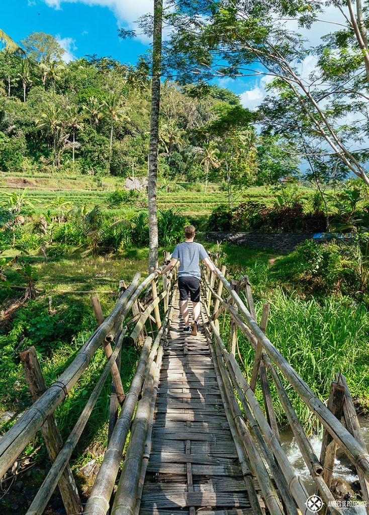 Trekking through the rice terraces of Sidemen in Bali, Indonesia