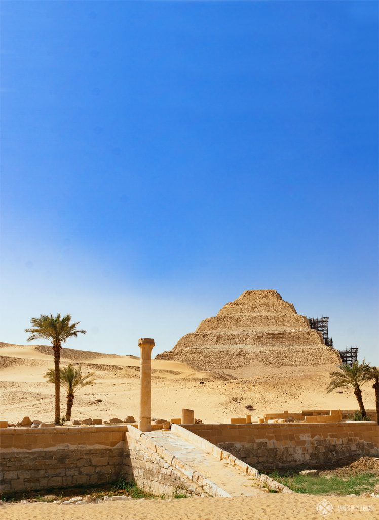 The Step Pyramid of King Djoser as seen from the entrance to the unique UNESCO World Heritage site in Egypt