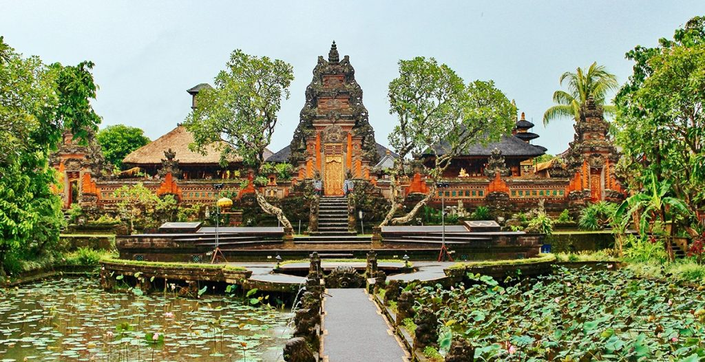 The main garden of the Ubud Palace in Bali, Indonesia