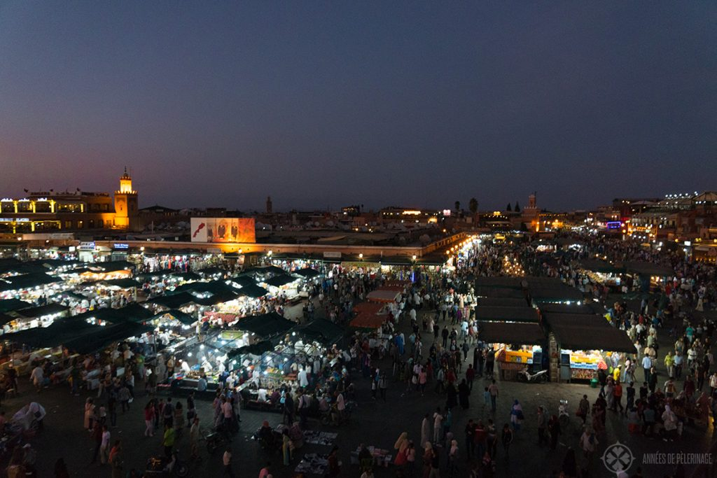 The main square of Marrakesh (Jemaa el-Fnaa) at night
