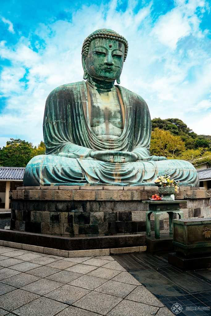 Another view of the Kamakura buddha with the large base supporting its weight of 121 tonnes