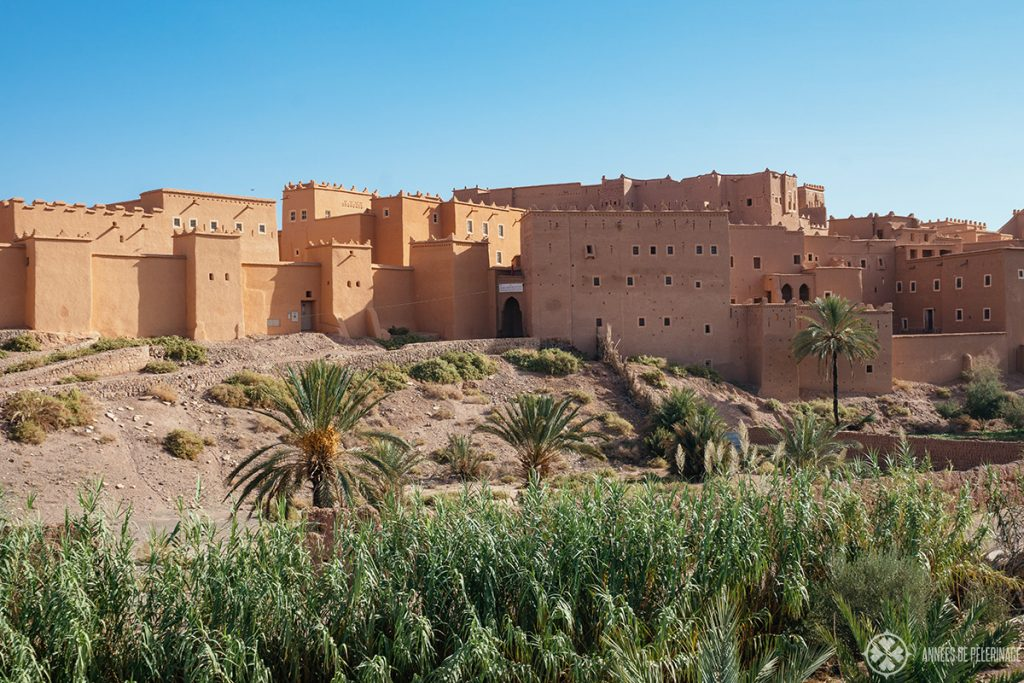 The Taourirt Kasbah in Ouarzazate as seen from afar