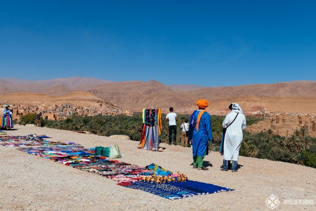 Souvenir vendors at a parking lot (with quite the beautiful view) in Morocco