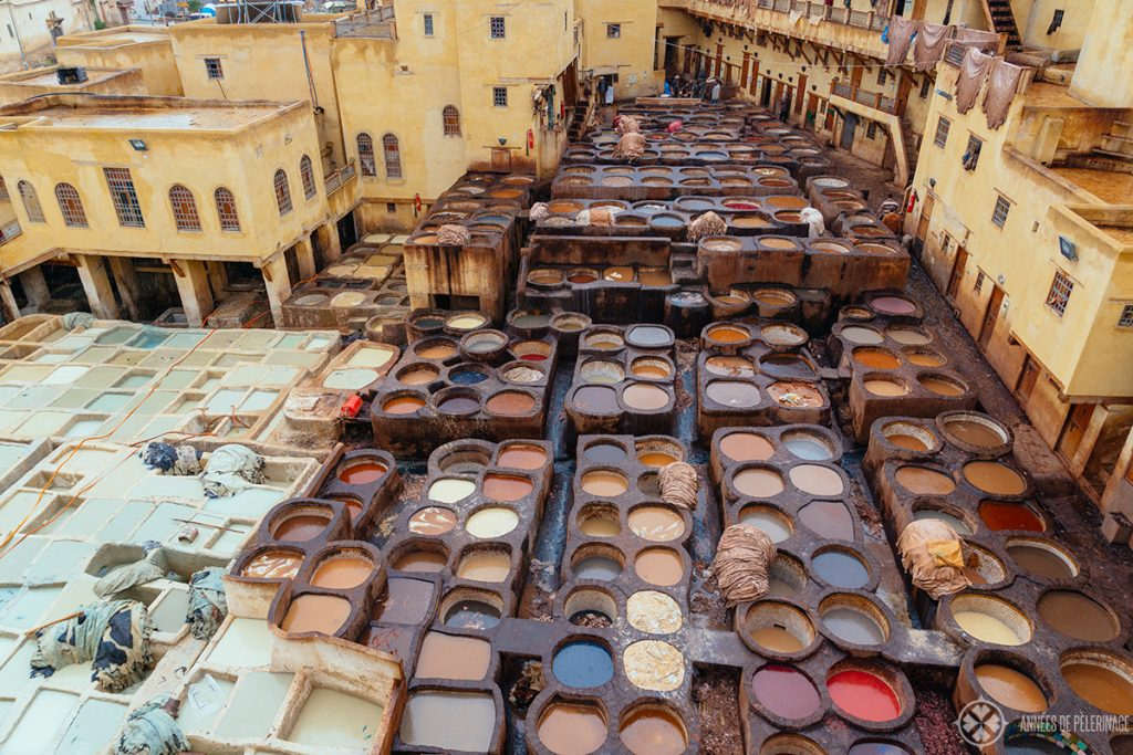 The famous tanneries of Fez on a rainy day in October - certainly one of the tourist highlights in Morocco
