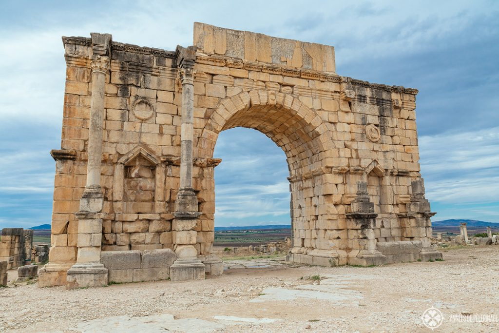 Arch of Caracalla in Volubilis - an UNESCO World Heritage site in the north of Morocco
