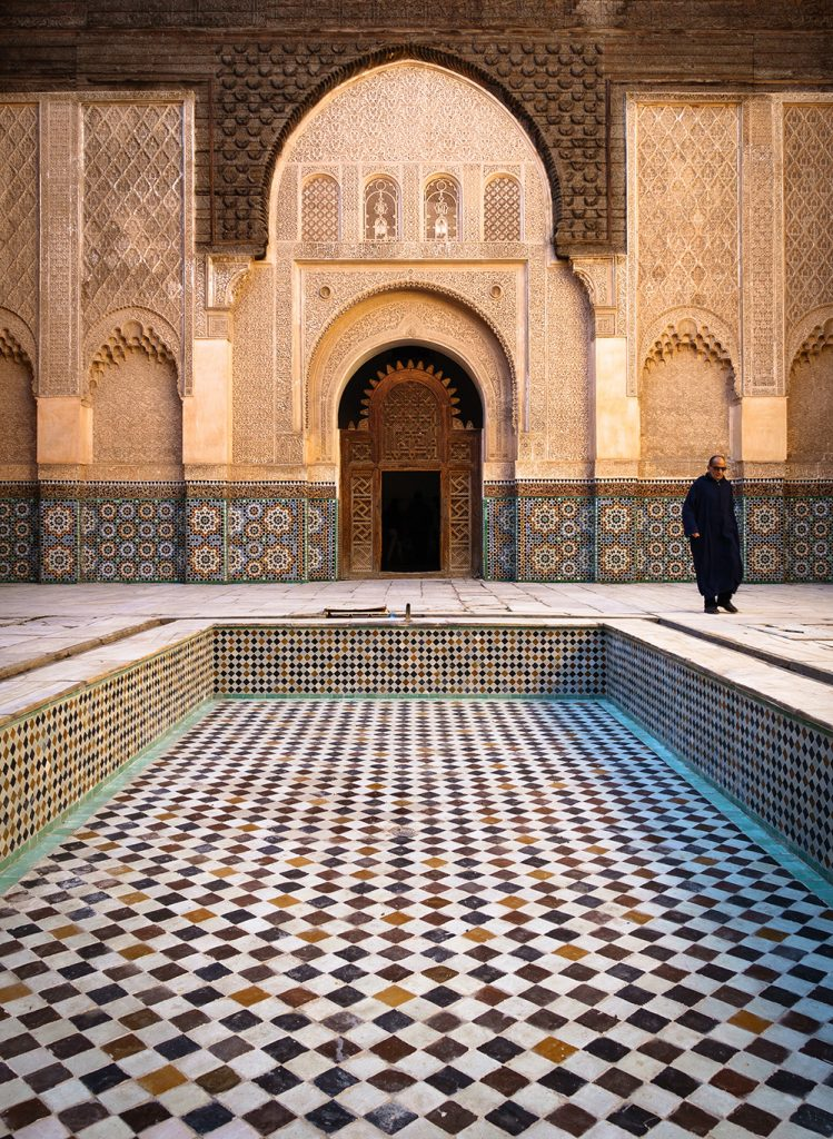 Inside the Ben Youssef Madrasa in Marrakesh, Morocco