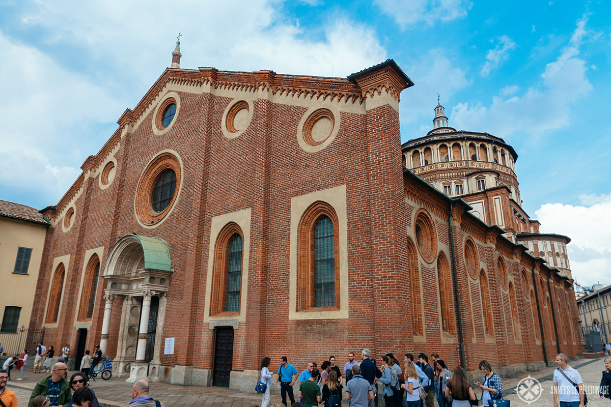 Front view of Santa Maria delle Grazie in Milan, Italy, where Leonardo da Vincis Last supper can be seen - if you got tickets that is