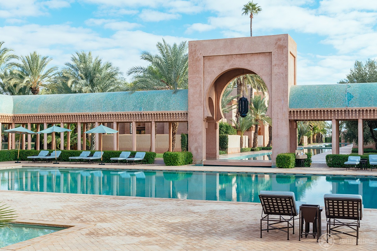 The mainpool of the Amanjena luxury resort on the outskirts of Marrakech, Morocco