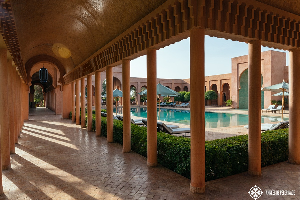One of the many sheer endless hallways at the Amanjena luxury hotel in Marrakech