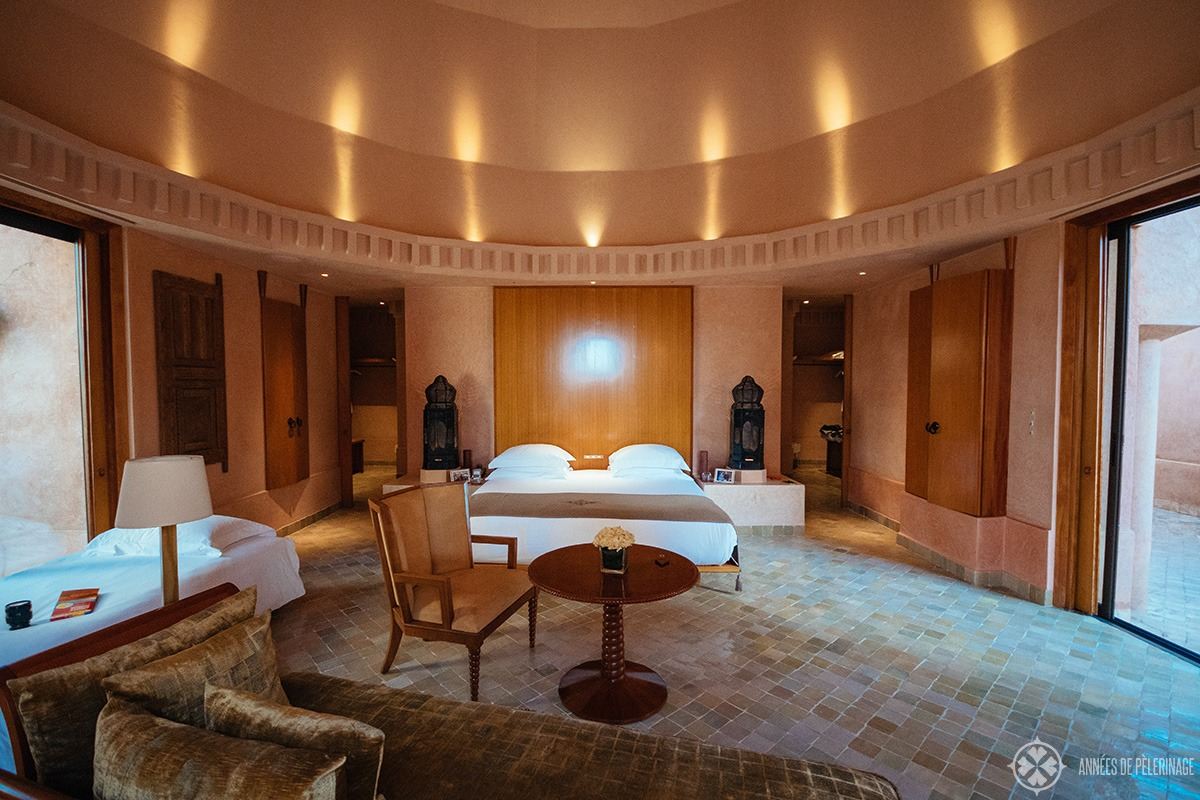 Living area of the Pavilion Piscine at the Amanjena luxury hotel in Marrakech