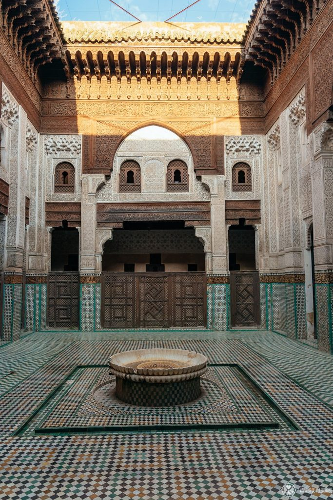 Courtyard of the Bou Inania Madrass in Meknes, Morocco
