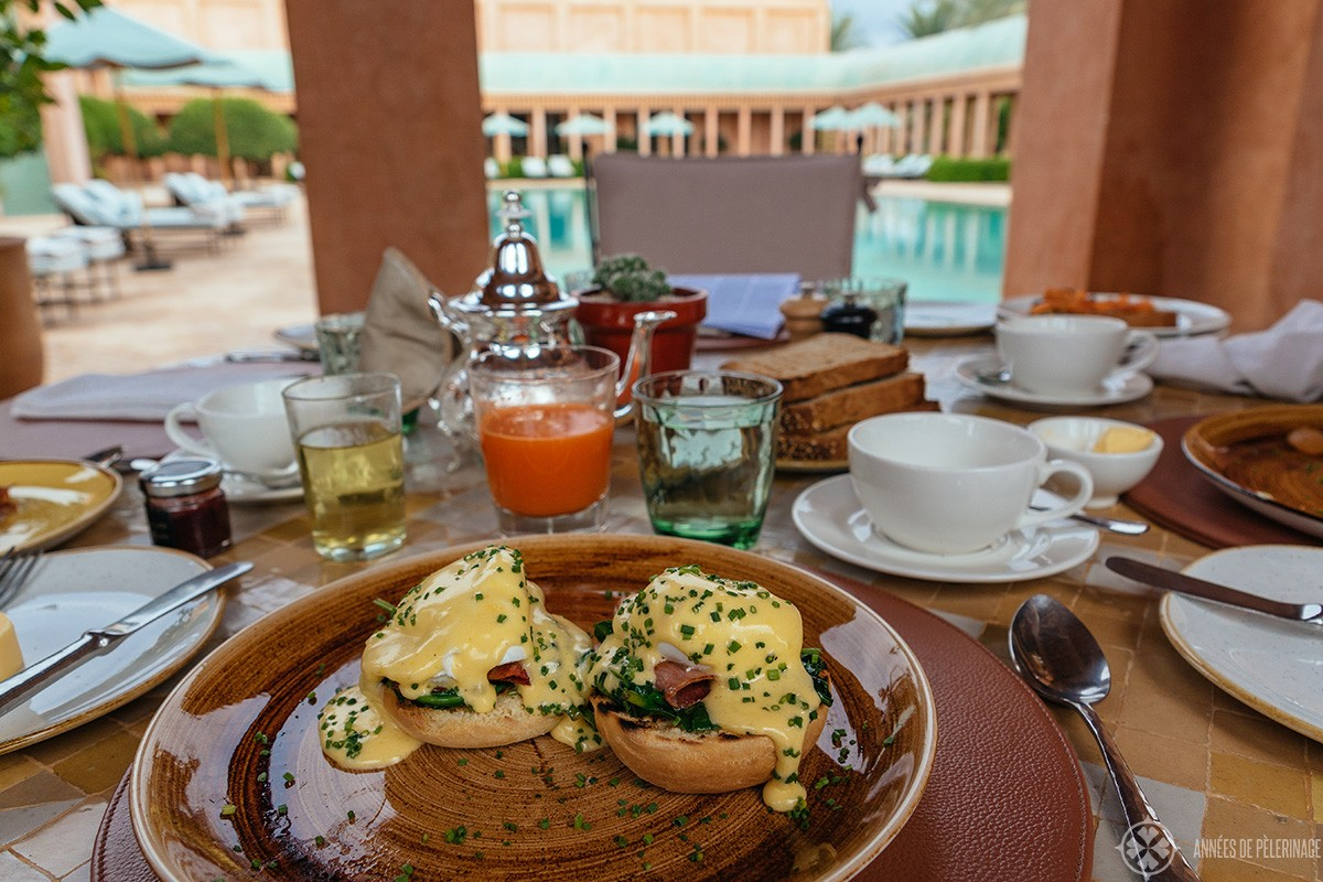 Breakfast at the amanjena luxury hotel in Marrakech, Morocco