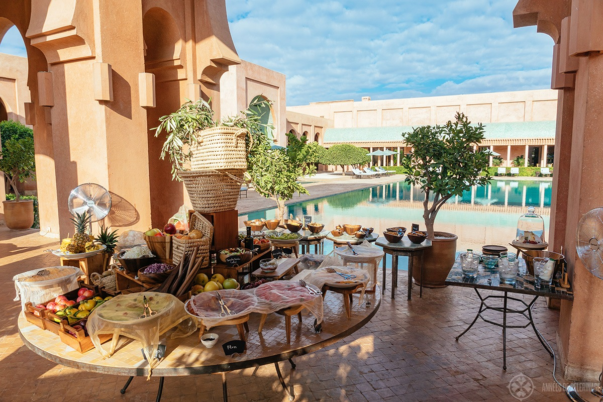 The breakfast buffet at the Amanjena luxury hotel in Marrakech, Morocco
