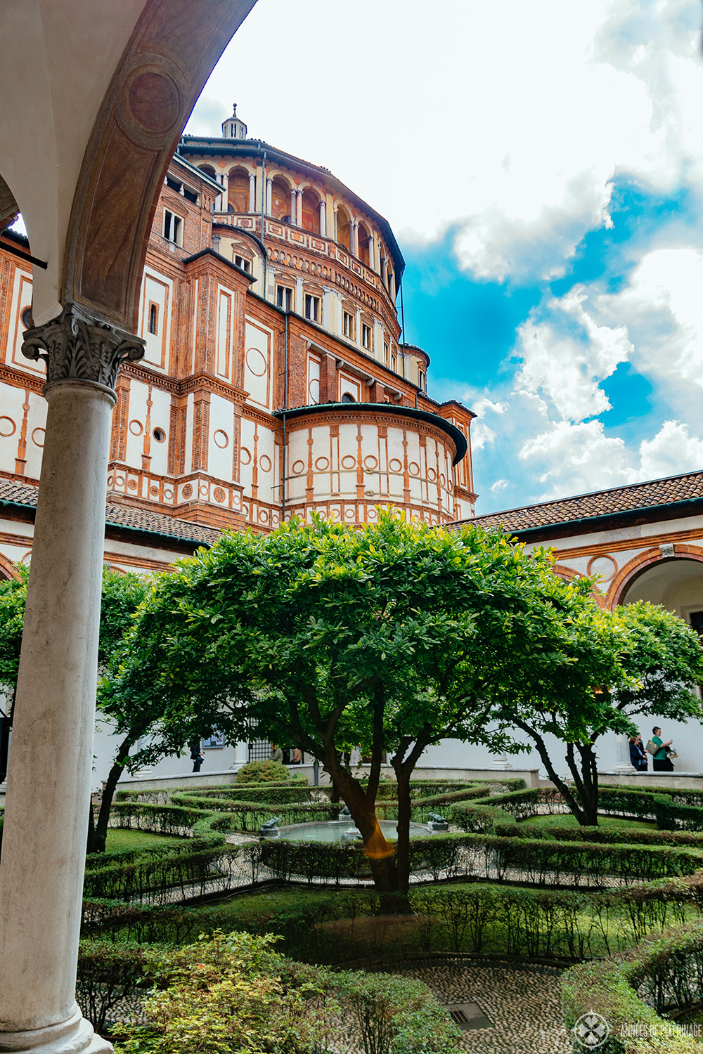 The cloister of Santa Maria delle Grazie in Milan, Italy