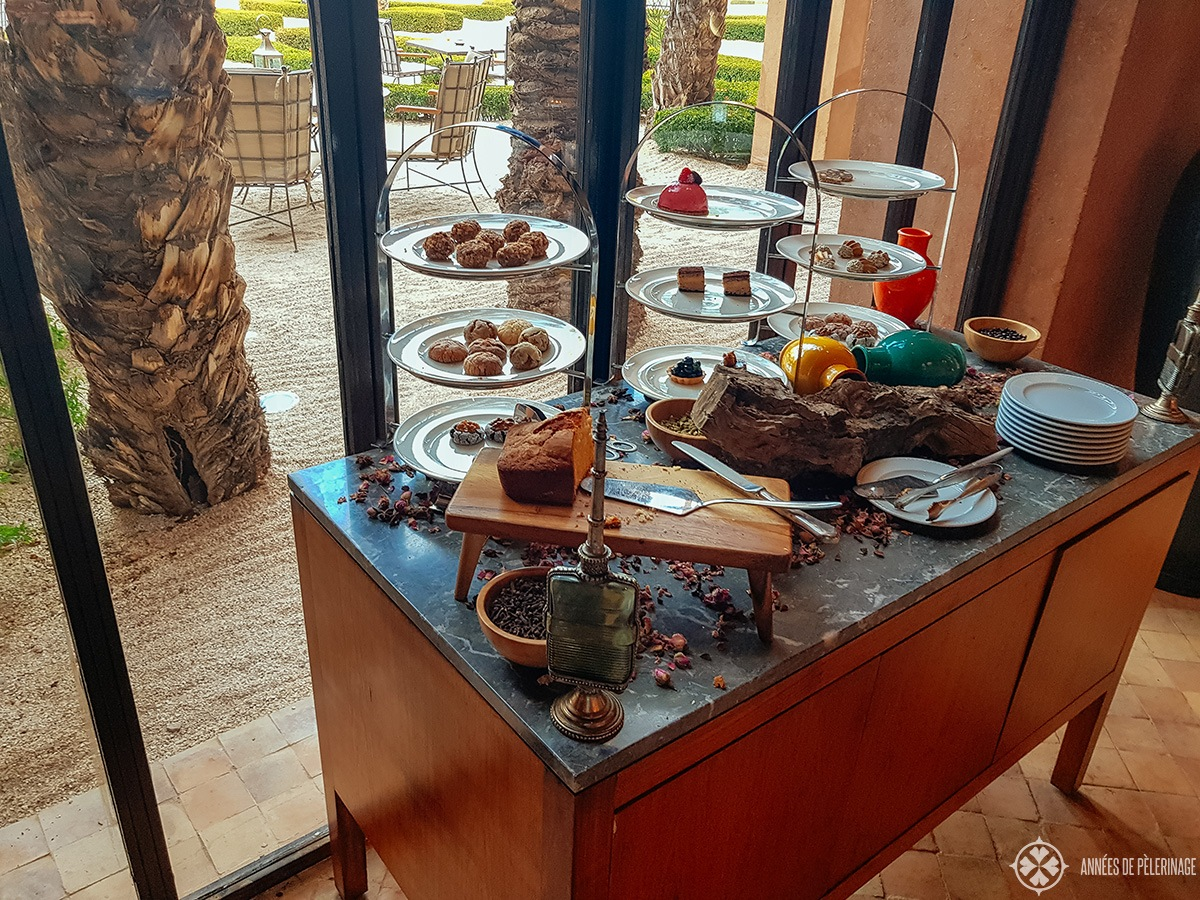The complimentary afternoon tea buffet at the Amanjena luxury hotel in Marrakech, Morocco