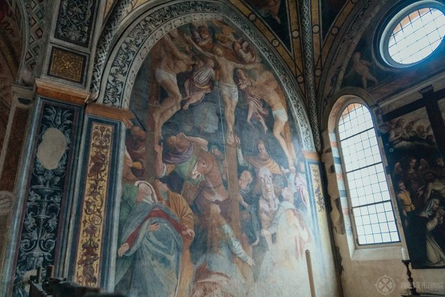 One of the many beautiful murals Inside Santa Maria delle Grazie in Milan, Italy