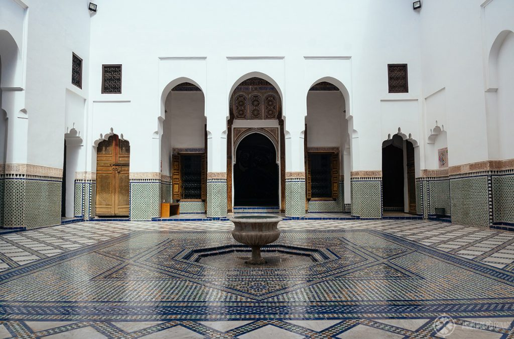 A courtyard inside the Dar Si Said Museum - one of the top things to see in Marrekesh, Morocco