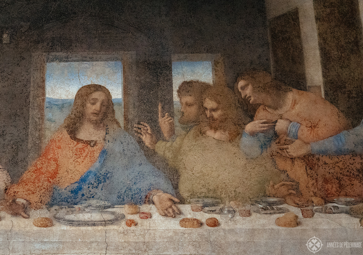 Jesus with his Disciples Thomas, James and Philip on Leonardo da Vinci's Last Supper in Milan, Italy