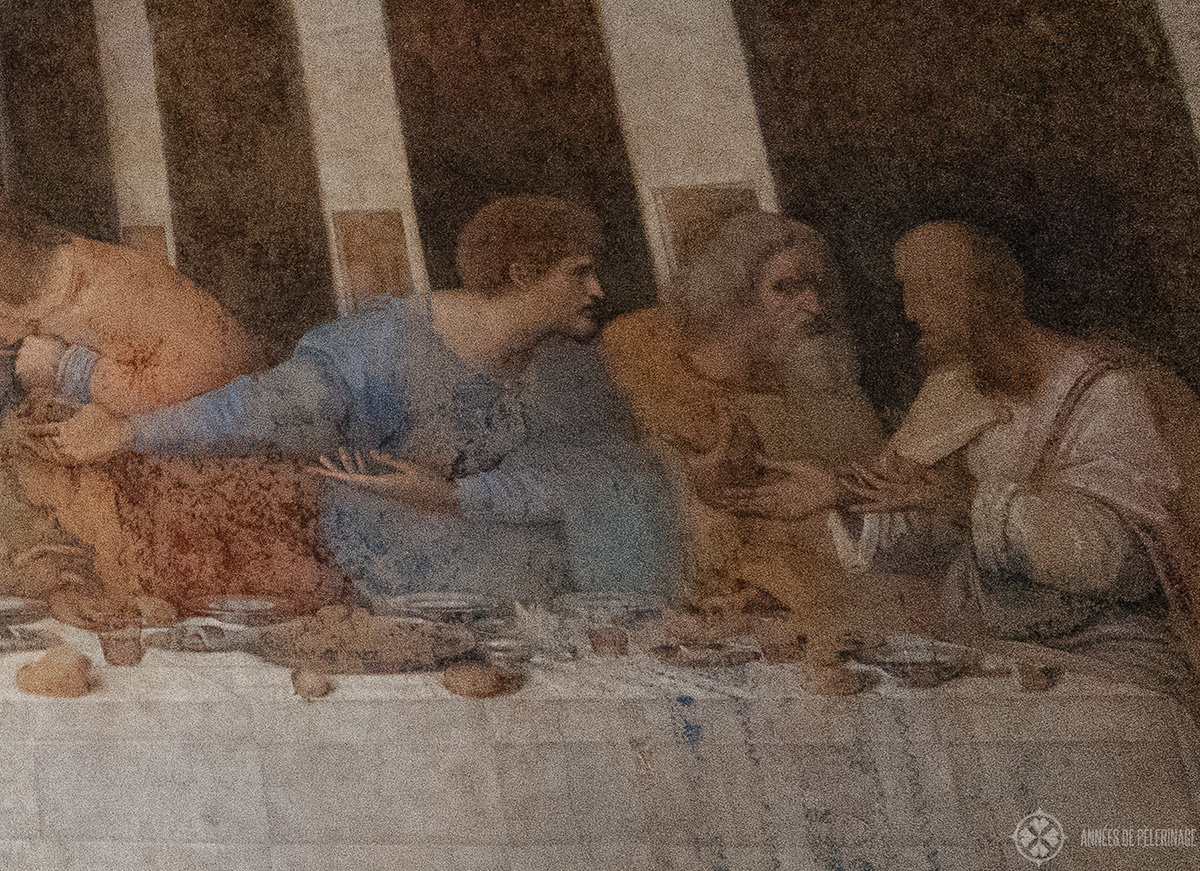 Matthew, Thaddeus and Simon in a state of agitation after they received the news on the last Supper of Leonardo da vinci