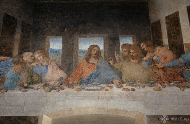 From left to right: Judas, Peter, ohn, Jesus, Thomas, James, Philip