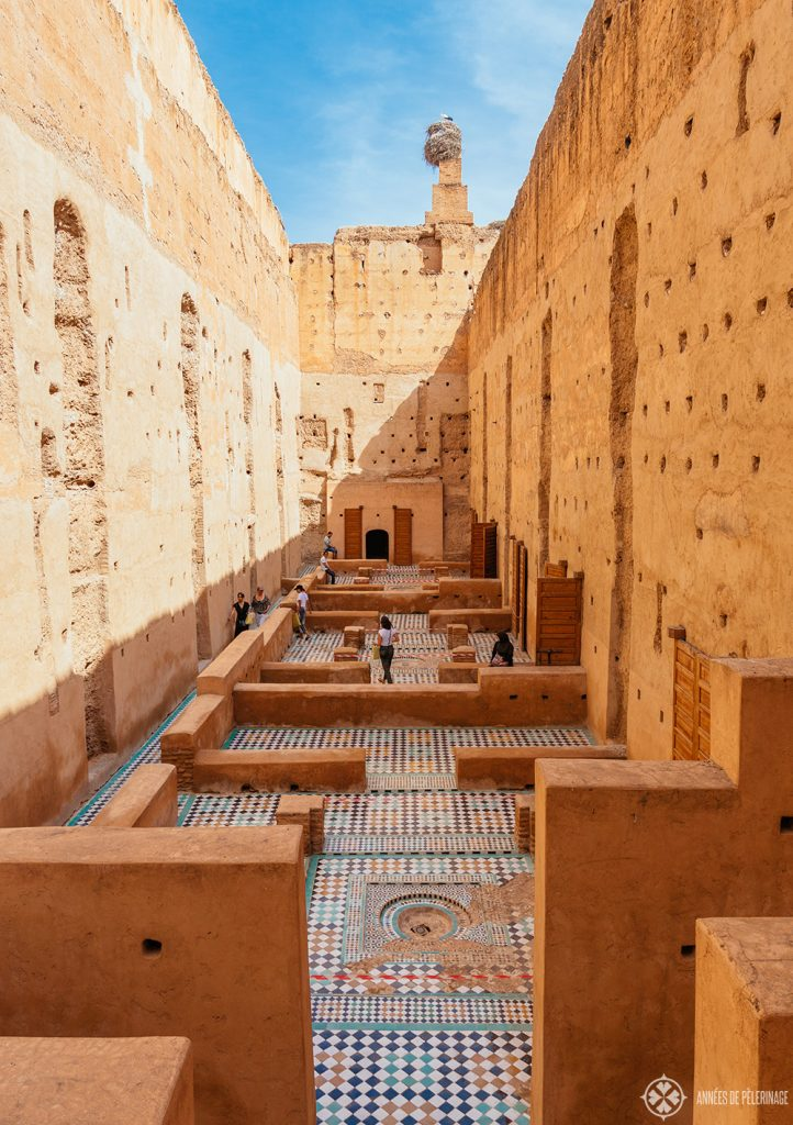 Tiled courtyard in the El Badi Palace - one of the must-see tourist attractions in Marrekesh, Morocco