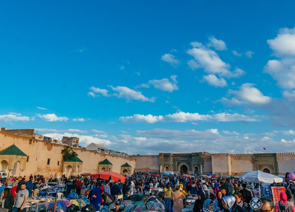 View of el Hedim square in Meknes, Morocco close before sunset
