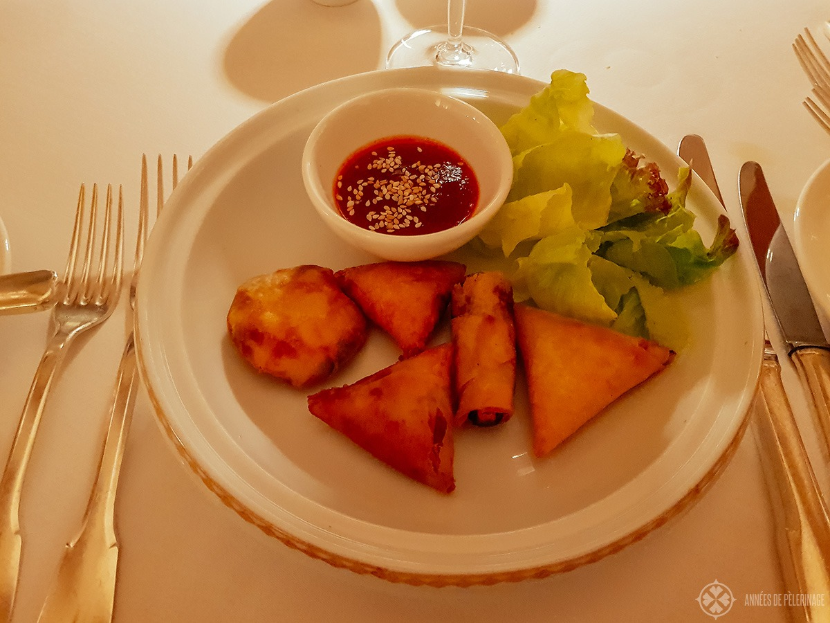 The traditional Moroccan Briouats at the restaurant inside the Amanjena luxury hotel