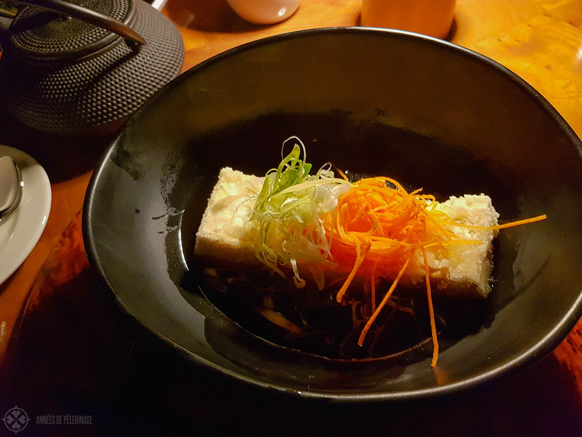 Food at the Japanese restaurant inside the Amanjena luxury resort in Marrakech, Morocco