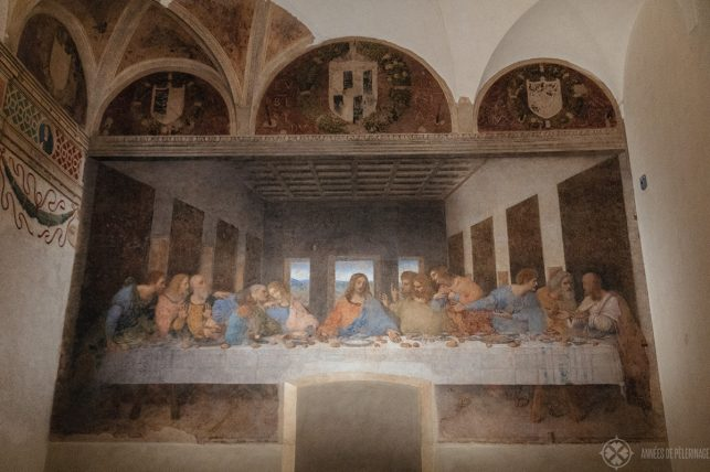 Full view of Leonardo da Vinci'S last Supper inside the Last Supper Museum in Milan, Italy