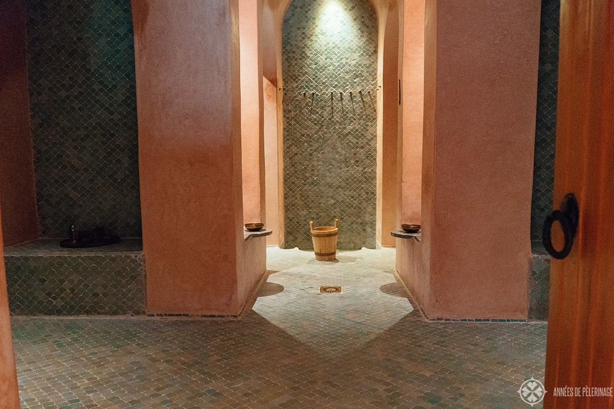 The hamam at the Amanjena luxury hotel in Marrakech, Morocco