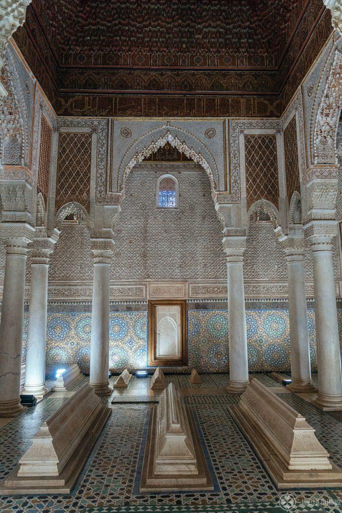 The inner sanctum of the Saadien Tombs in Marrekesh, Morocco