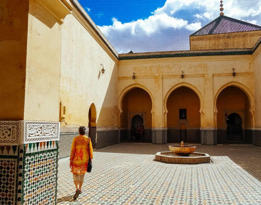 A beautiful courtyard within Inside the Mausoleum of Moulay Ismail in Meknes, Morocco
