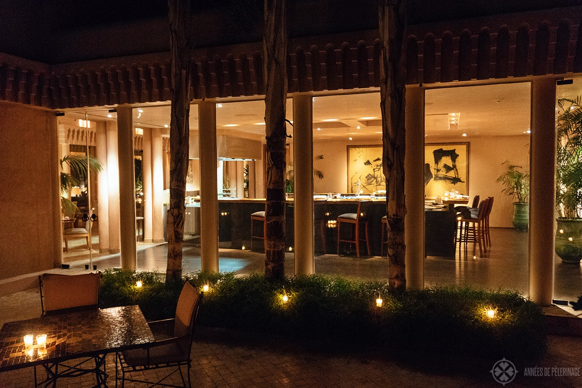 The japanese restaurant called Nama at Amanjena in Marrakech, Morocco