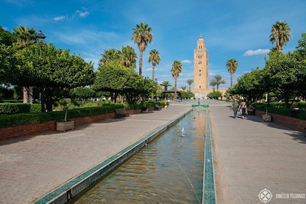 The beautiful gardens behind the Koutoubia Mosque in Marrakech