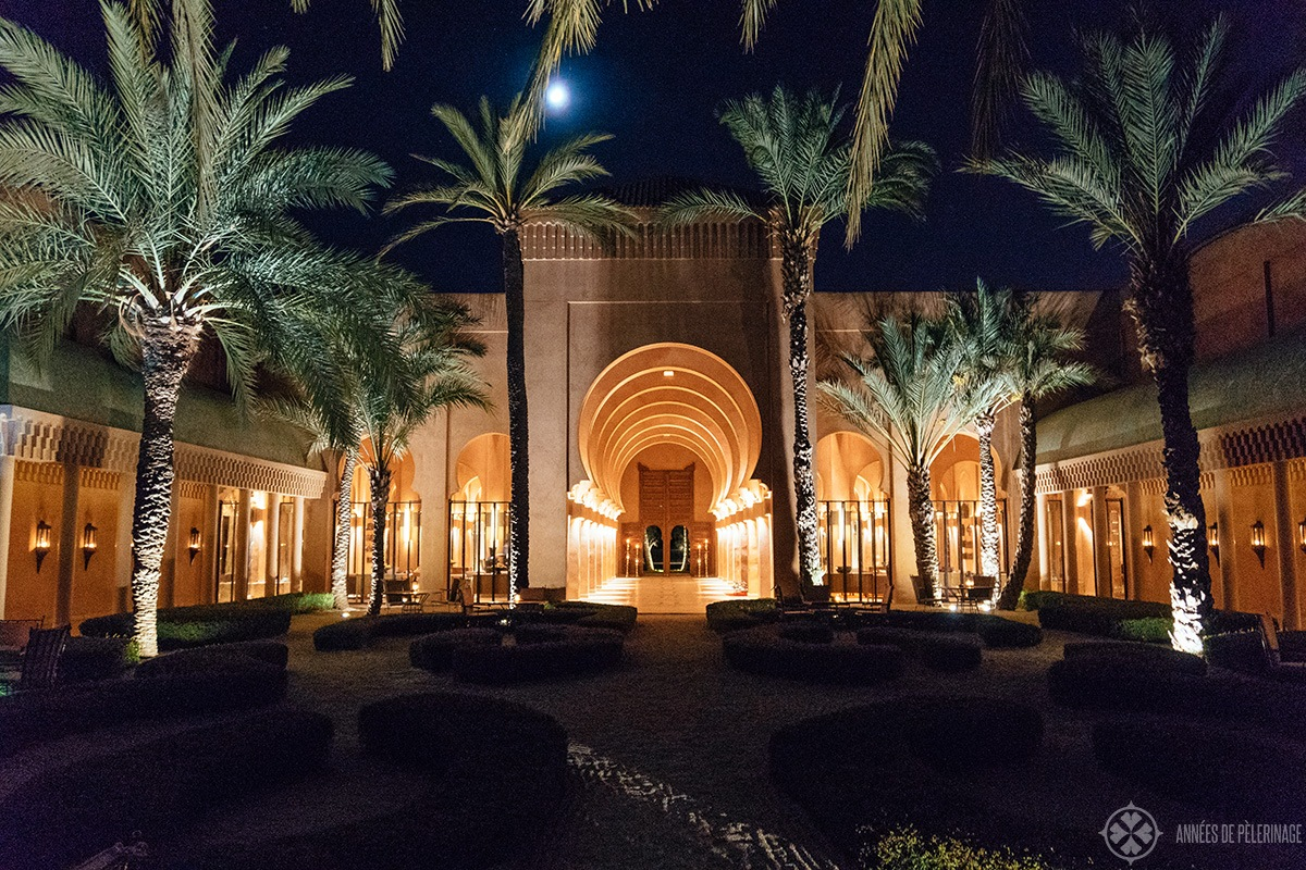 View of the lobby of the Amanjena luxury hotel in Marrakech, Morocco