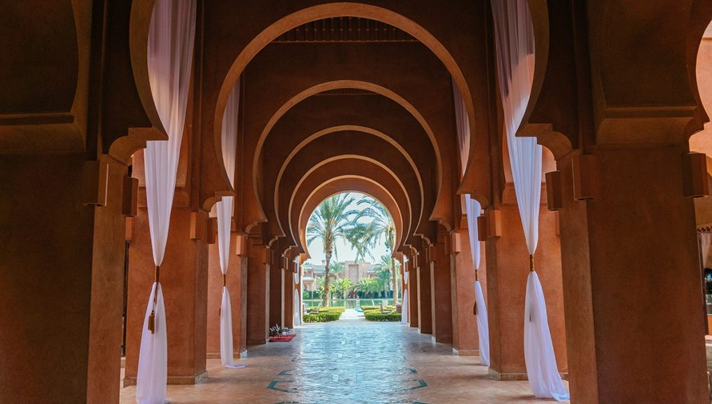 The entrance into the lobby of the Amanjena luxury hotel in Marrakesh, Morocco