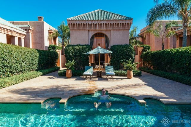 The pool of the Pavilion Piscine at Amanjena luxury hotel in Marrakech, Morocco