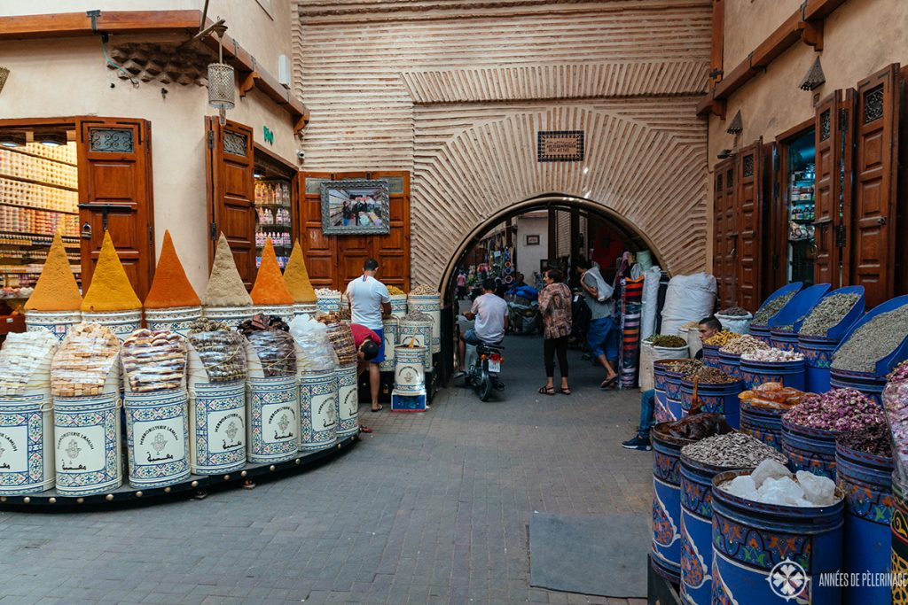 A spice merchant inside the old Mellah of Marrekesh. This is the jewish quarter and top point of interest in Marrekesh.
