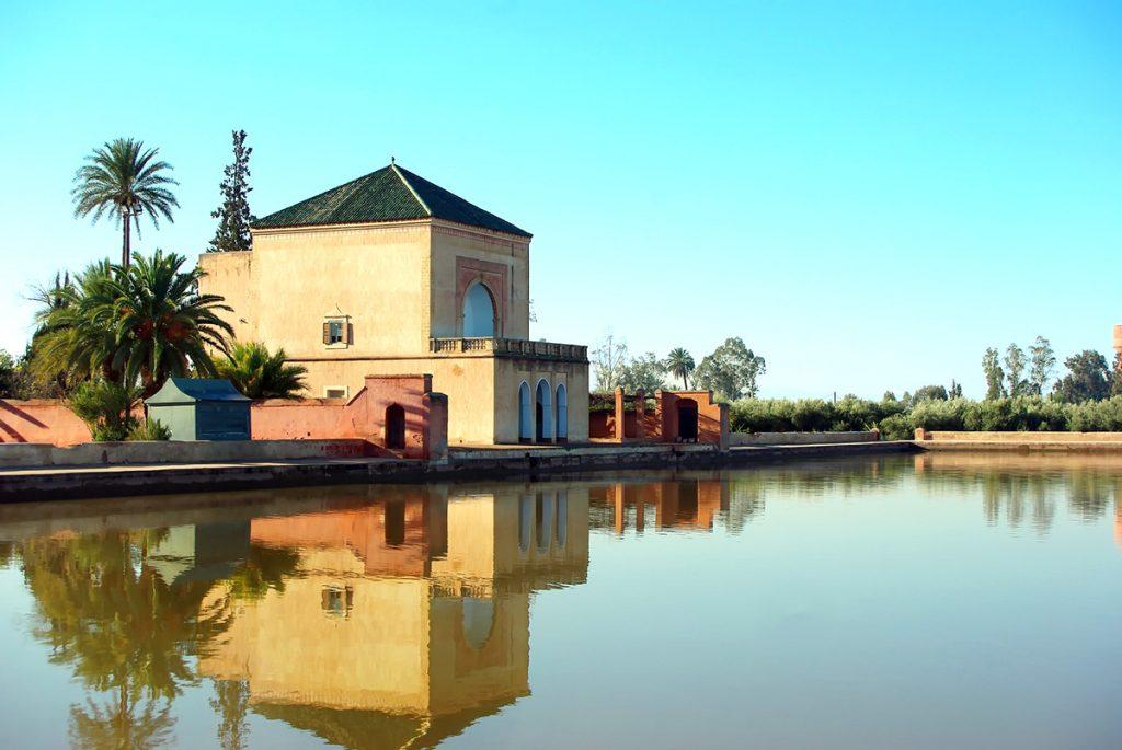 The grand pond inside the Menara Gardens in Marrakesh, Morocco