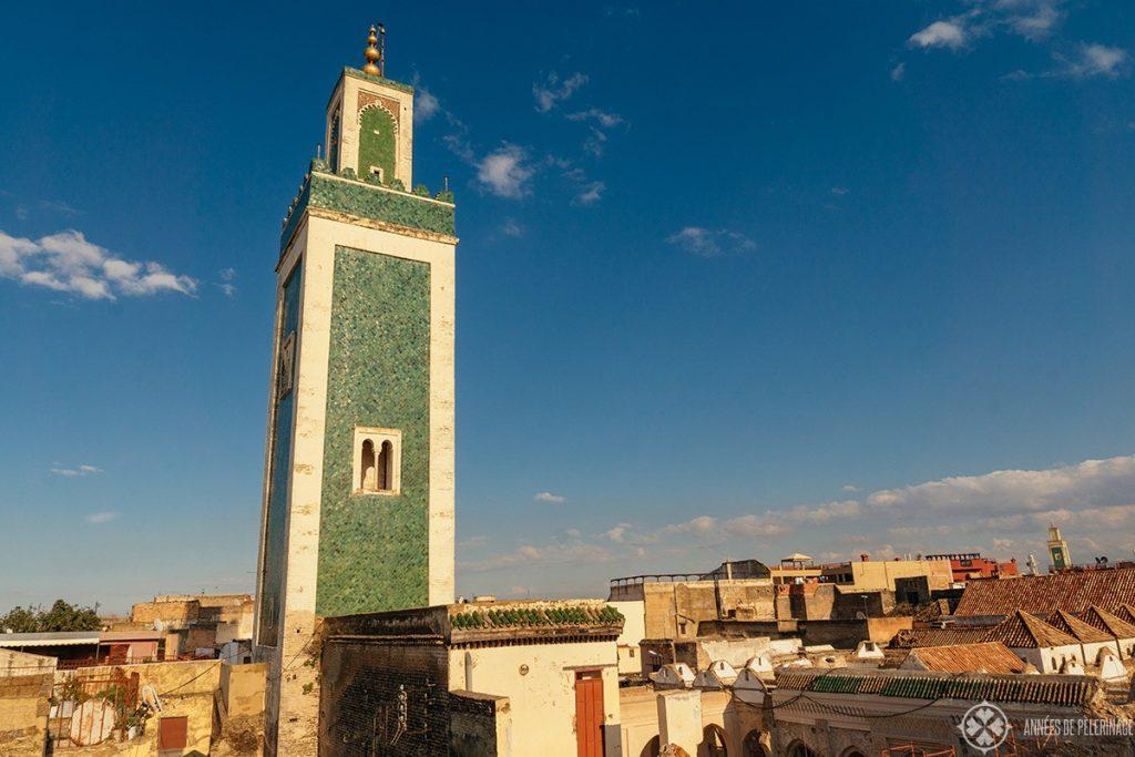 A minaret in the ancient Medina of Meknes, Morocco