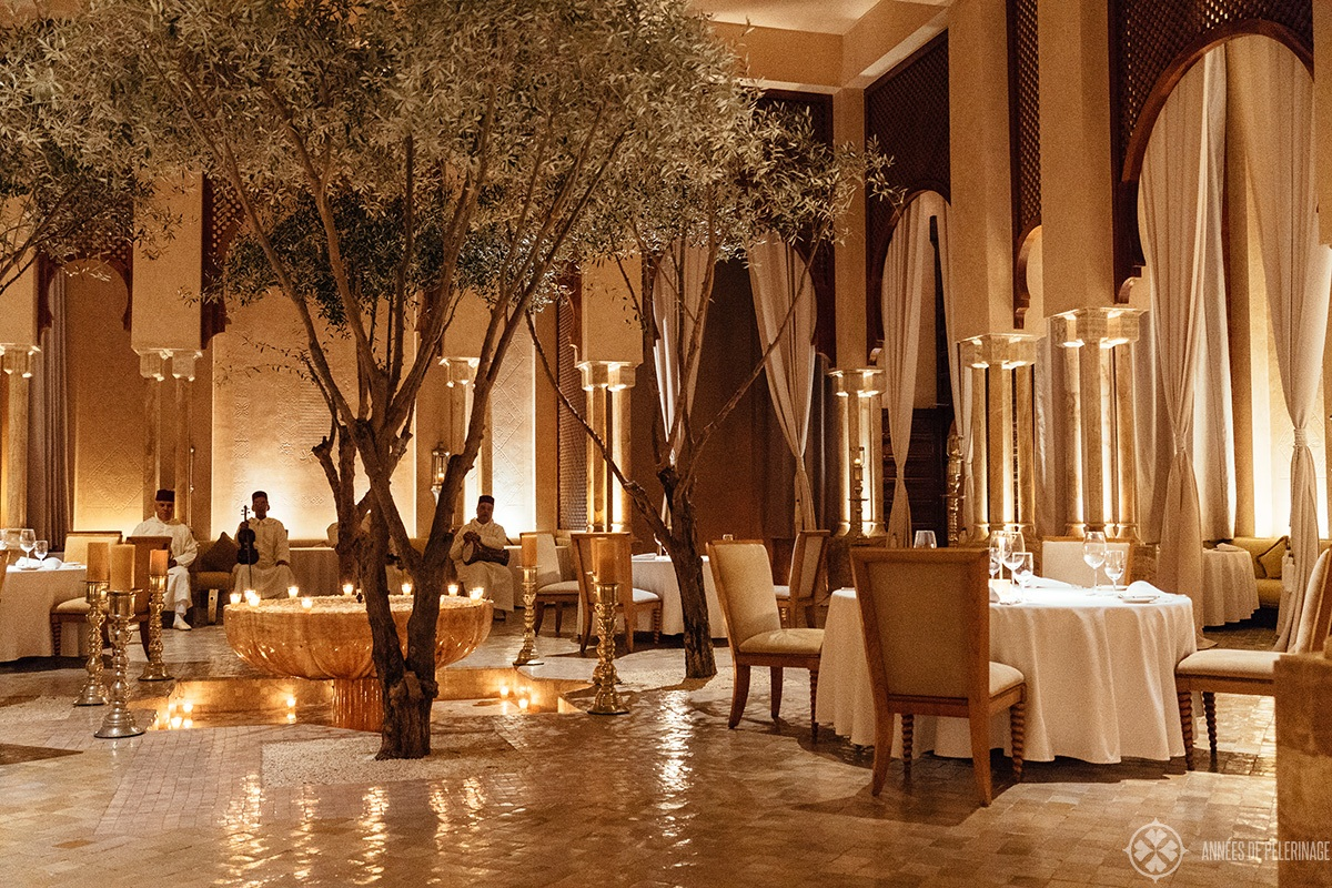 The stunning Moroccan Restaurant inside the Amanjena luxury hotel in Marrakech