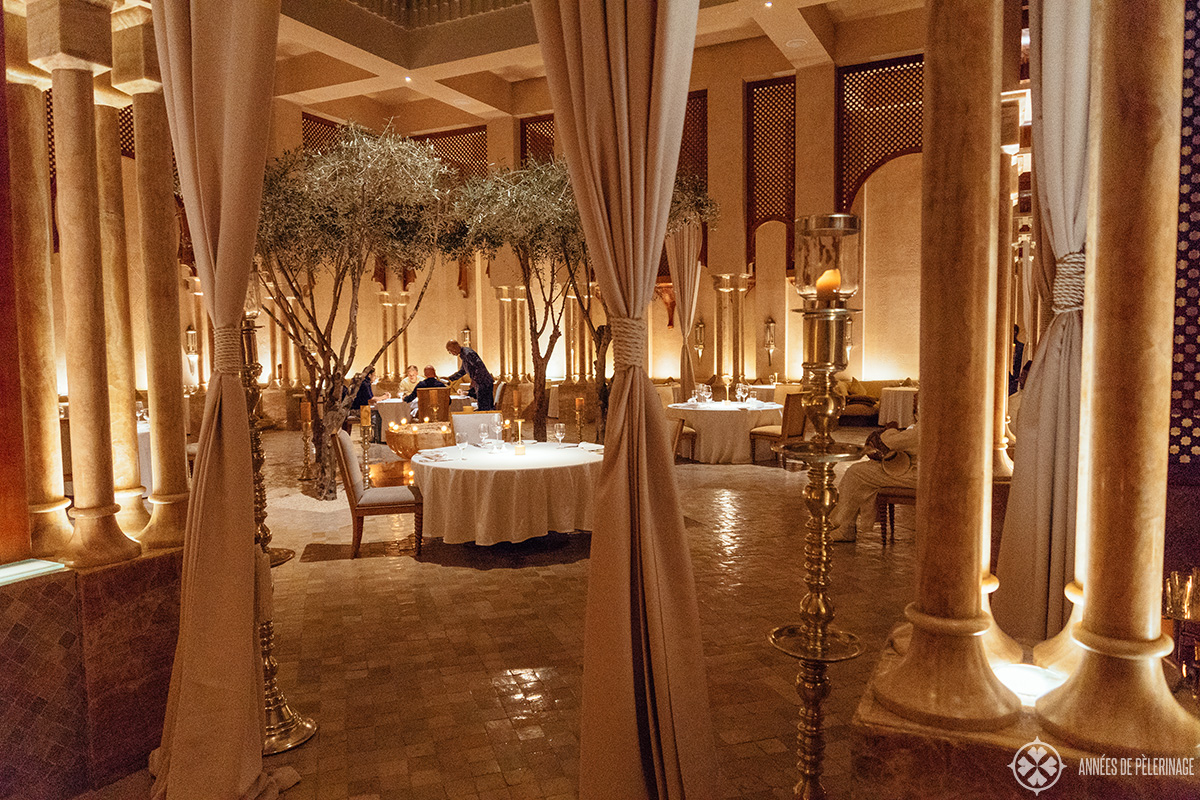 The gorgeous moroccan restaurant at the Amanjena luxury hotel - probably the most beautiful restaurant in Marrakech