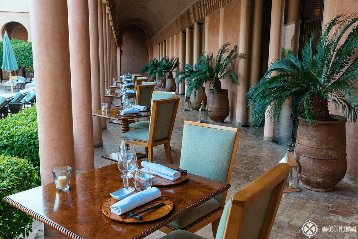 The terrace of the Japanese Restaurant at Amanjena luxury resort in Marrakech