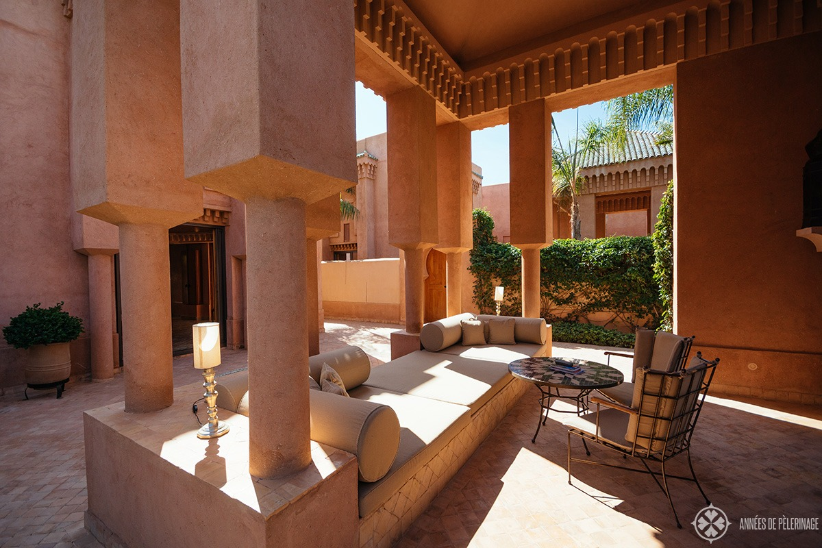 the gazebo of the pavilion piscine at the amanjena resort - the best luxury hotel in Marrakech, Morocco