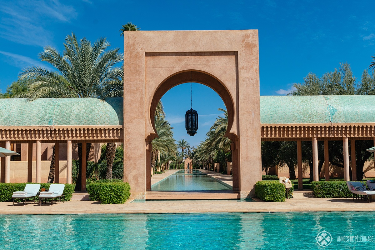 The main pool of the Amanjena luxury hotel in Marrakech, Morocco