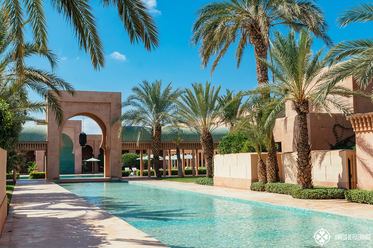 The way to the pool at Amanjena luxury hotel in Marrakech, Morocco