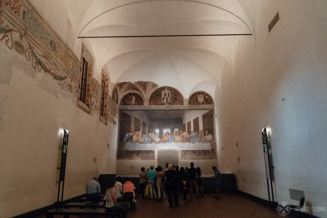 The refectory with the Last Supper at the far end inside Santa Maria delle Grazie church in Milan italy