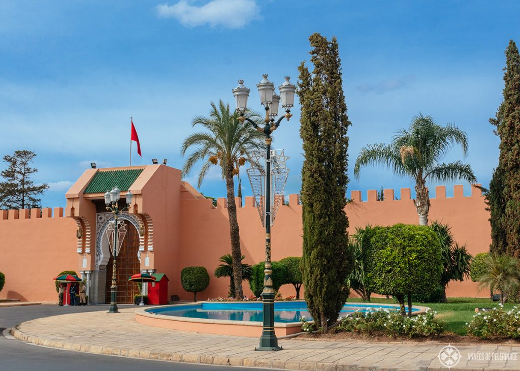 The gate of the Royal Palace in Morocco, Marrakesh. The wall along the royal Palace is quite beautiful, even though you cannot go inside